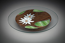 Lotus Centerpiece by Aaron Laux (Art Glass & Wood Platter)