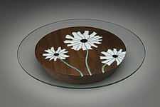Daisy Centerpiece by Aaron Laux (Art Glass & Wood Platter)