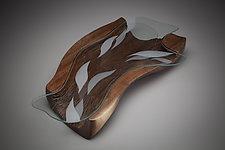 Water Forms Centerpiece by Aaron Laux (Art Glass & Wood Platter)