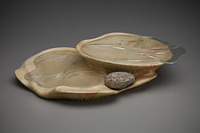Leaf Patterns Centerpiece by Aaron Laux (Art Glass & Wood Platter)