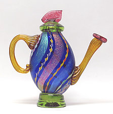 Dichroic Cane Teapot in Cobalt by Ken Hanson and Ingrid Hanson (Art Glass Teapot)