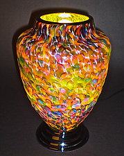 Yellow & Red Speckled Lamp by Curt Brock (Art Glass Table Lamp)