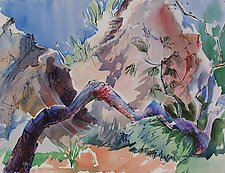 Tree and Boulders at the Foot of the Acropolis by Alix Travis (Watercolor Painting)