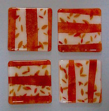 Red Leaves and Trees Coasters by Martha Pfanschmidt (Art Glass Coasters)