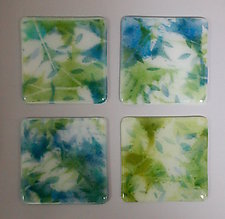 Blue and Green Leaves Coasters by Martha Pfanschmidt (Art Glass Coasters)