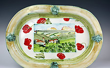 Large Oval Platter, Italian Countryside by Peggy Crago (Ceramic Platter)