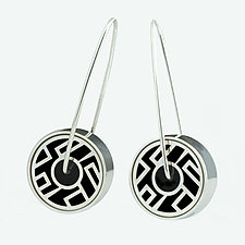 Asian Pinwheels in Black by Victoria Varga (Silver & Resin Earrings)