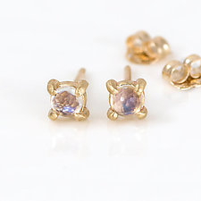Moonstone Stud Earrings in Gold by Melanie Casey (Gold & Stone Earrings)
