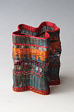 Vessel in Blue and Green with Orange by Frances Solar (Metal Vessel)
