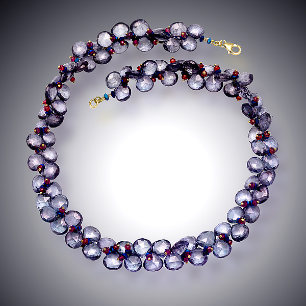 Blue Quartz, Hematite and Garnet Necklace