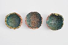 Blue Wall Flower Triptych by Mira Woodworth (Art Glass Wall Sculpture)