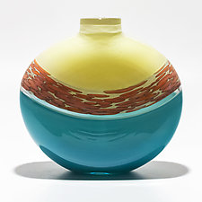 Spotted Banded Flat Vase in Vanilla and Turquoise with Salmon Spots on Vanilla by Michael Trimpol and Monique LaJeunesse (Art Glass Vase)