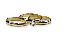 22k Gold Wedding & Engagement Set by Nancy Troske (Gold & Stone RIng)