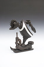 Hydraulic Sled with Contemplative Power and African Inspired Figure by Gerard Ferrari (Ceramic Sculpture)