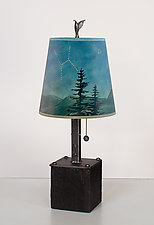 Steel Table Lamp on Wood with Small Drum Shade in Midnight Sky by Janna Ugone (Mixed-Media Table Lamp)