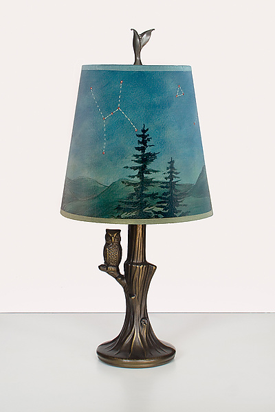 Bronze Owl Lamp with Small Drum Shade in Midnight Sky