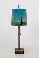 Steel Table Lamp on Wood with Medium Drum Shade in Midnight Sky by Janna Ugone (Mixed-Media Table Lamp)
