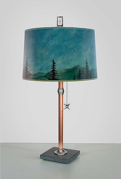 Copper Table Lamp with Large Drum Shade in Midnight Sky