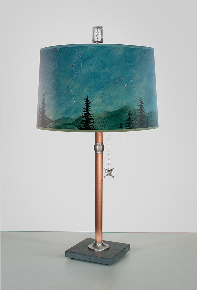 copper table lamp with large drum shade in midnight sky by janna ugone. Black Bedroom Furniture Sets. Home Design Ideas