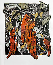 Chiles #3 by Ouida  Touchon (Woodcut Print)