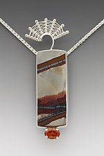 Fandango Pendant with Desert Rock and Spessartite Garnet by Marie Scarpa (Gold & Stone Necklace)