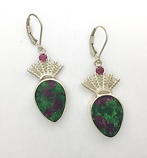 Fandango Ruby Zoisite Lever Back Earrings with Rhodolite by Marie Scarpa (Silver & Stone Earrings)