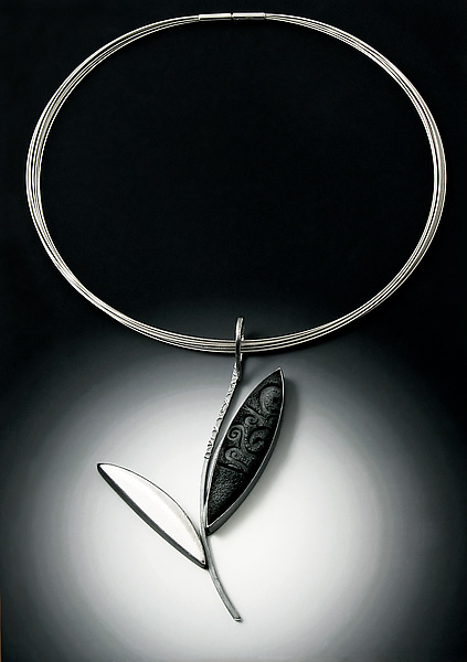 Black and White Leaf Pendant