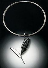 Black and White Leaf Pendant by Grace Stokes (Polymer Clay & Silver Necklace)