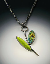 Spring Leaves Pendant by Grace Stokes (Polymer Clay & Silver Necklace)