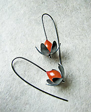 Lotus Flower Earrings by Grace Stokes (Polymer Clay & Silver Earrings)