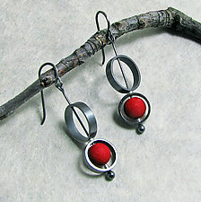 Red Bead in Circles Earrings by Grace Stokes (Polymer Clay & Silver Earrings)