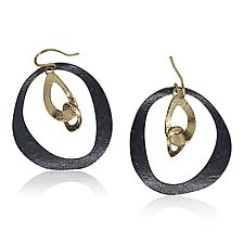 Dangling Open Pebbles Earrings by Rona Fisher (Gold & Silver Earrings)