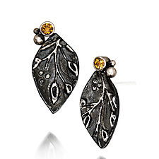 Citrine Leaf Studs by Vickie  Hallmark (Silver & Stone Earrings)