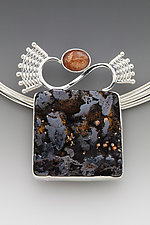 Scroll Fabricated Pendant with Iron Hat and Sunstone by Marie Scarpa (Silver & Stone Necklace)