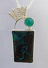 Fandango Silver Pendant with Azurite Chrysacolla by Marie Scarpa (Silver & Stone Necklace)