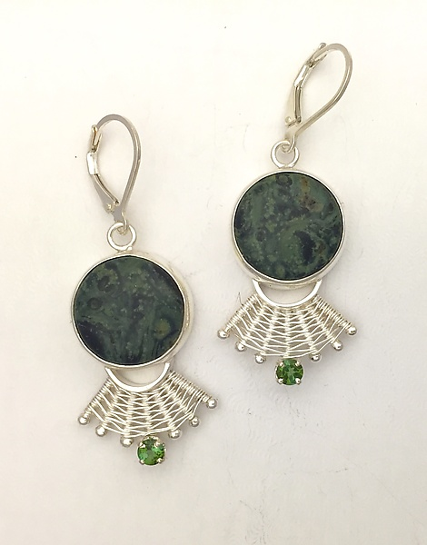 Fandango Lever Back Earrings with Fossil Algae and Tourmaline