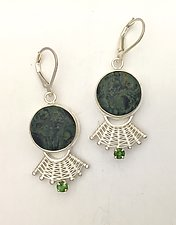 Fandango Lever Back Earrings with Fossil Algae and Tourmaline by Marie Scarpa (Silver & Stone Earrings)