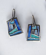 Blue Mosaic Window Earrings No 439 by Carly Wright (Enameled Earrings)