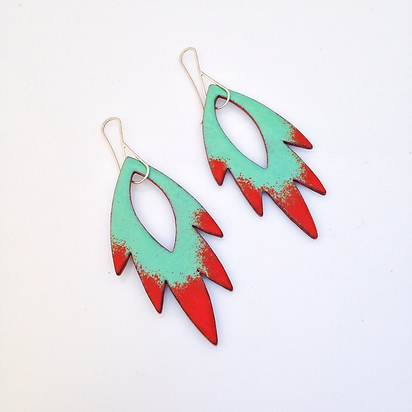 Petal Flame Earrings in Aqua & Flame