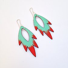 Petal Flame Earrings in Aqua & Flame by Jenny Windler (Enameled Earrings)