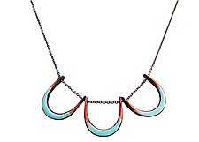 Horseshoe Necklace in Aqua & Flame by Jenny Windler (Enameled Necklace)