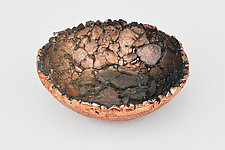 Charcoal Copper Shimmer by Mira Woodworth (Art Glass Bowl)