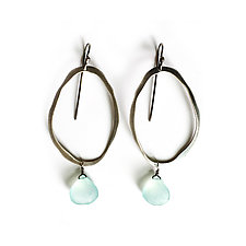 Thin Rough Cut Elongated Earrings with Stone by Lisa Crowder (Silver & Stone Earrings)