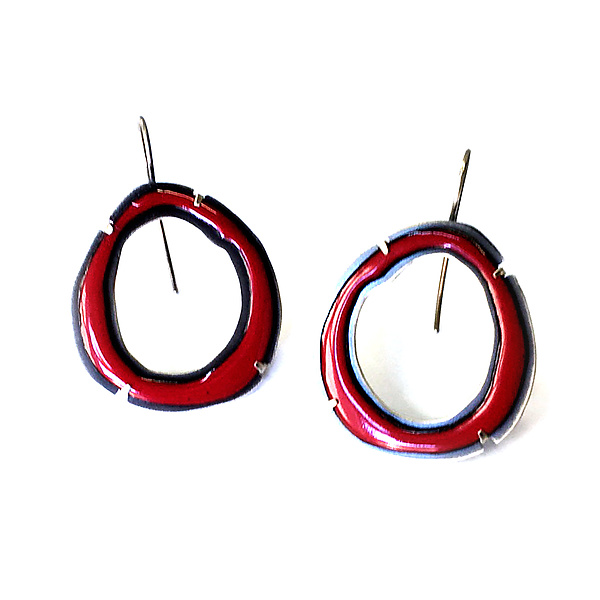 Thin Rough Cut Enamel Earrings in Red