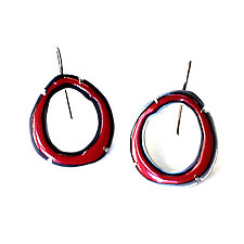 Thin Rough Cut Enamel Earrings in Red by Lisa Crowder (Enameled Earrings)