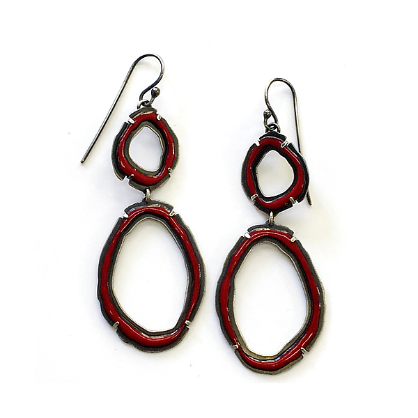 Double Thin Rough Cut Dangle Earrings in Brick