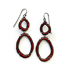 Double Thin Rough Cut Dangle Earrings in Brick by Lisa Crowder (Enameled Earrings)