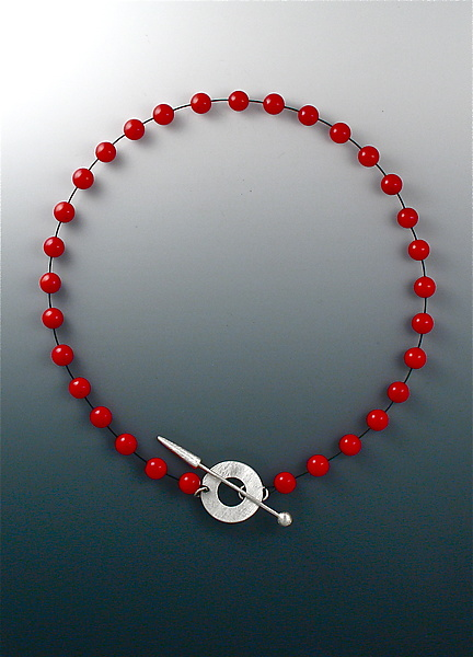 Red Bead Necklace with Silver Toggle Clasp