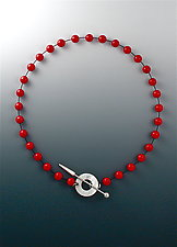 Red Bead Necklace with Silver Toggle Clasp by Suzanne Linquist (Silver & Stone Necklace)