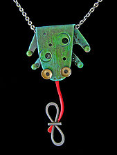 Fly Trap Necklace by Lisa and Scott  Cylinder (Metal Necklace)